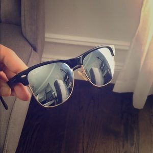 Ray-Ban clubmaster mirrored black gold sunglasses